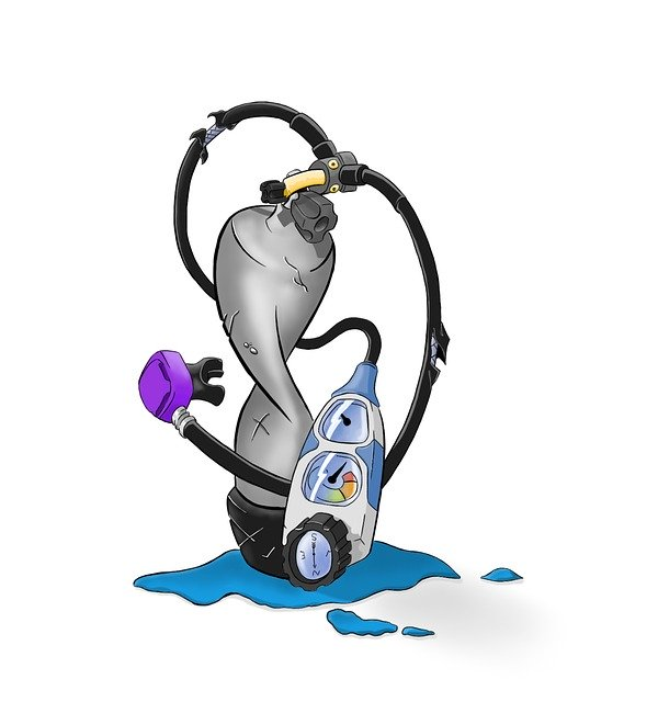 Botella de buceo con profundímetro y regulador