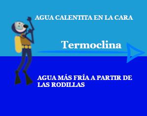 Muestra la explicación de una termoclina en el entorno de buceo.